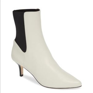 Joie Abbie Booties White Leather Black Accent